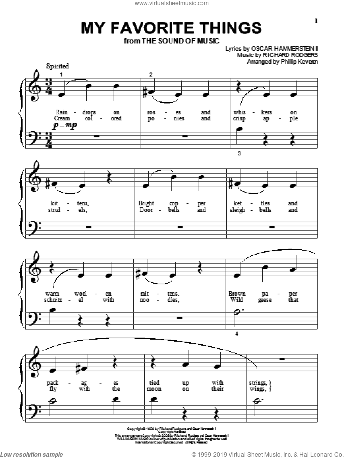 My Favorite Things (from The Sound Of Music) (arr. Phillip Keveren) sheet music for piano solo (big note book) by Rodgers & Hammerstein, Phillip Keveren, Julie Andrews, Oscar II Hammerstein and Richard Rodgers, easy piano (big note book)