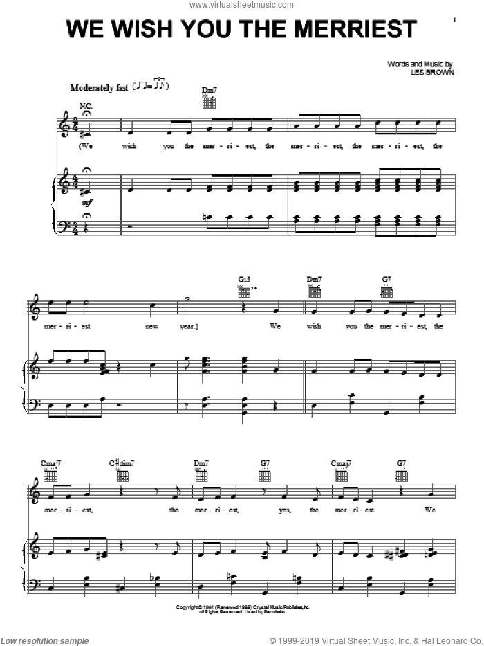 We Wish You The Merriest sheet music for voice, piano or guitar by Frank Sinatra and Les Brown, intermediate skill level