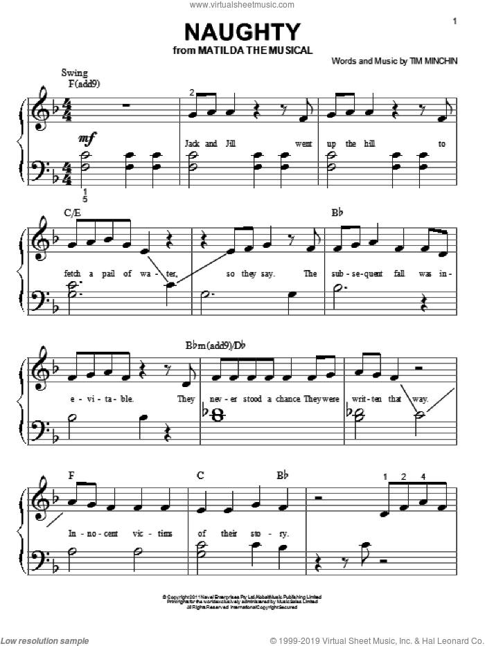 Naughty sheet music for piano solo (big note book) by Tim Minchin, easy piano (big note book)