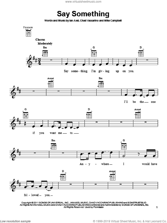 Say Something sheet music for ukulele by A Great Big World, Chad Vaccarino, Ian Axel and Mike Campbell, intermediate skill level