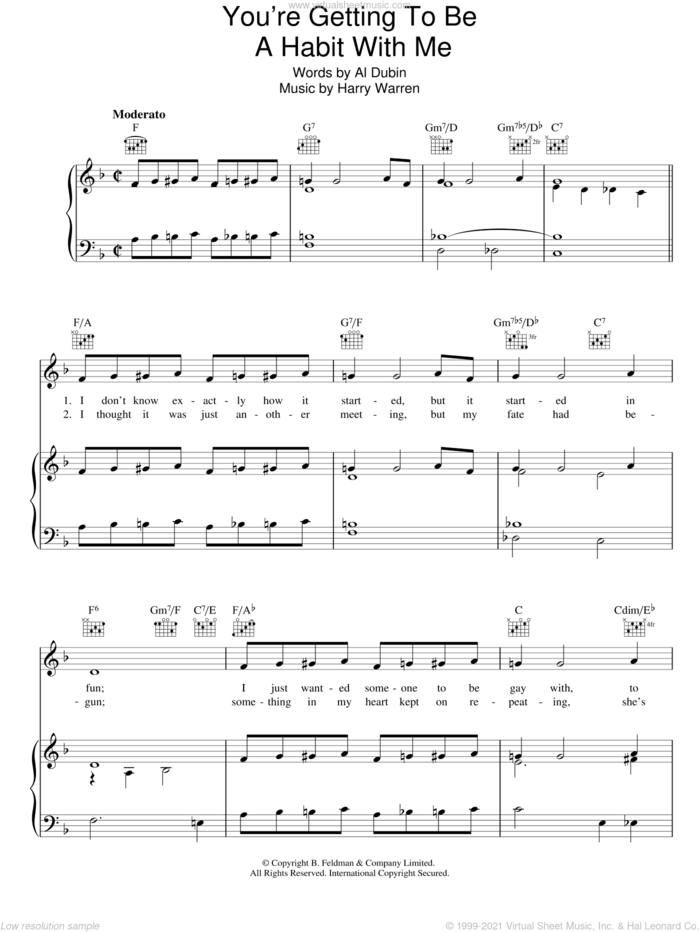 You're Getting To Be A Habit With Me sheet music for voice, piano or guitar by Harry Warren and Al Dubin, intermediate skill level