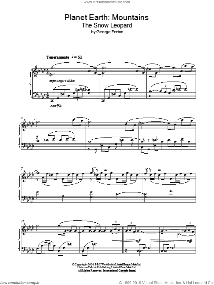 Planet Earth: The Snow Leopard sheet music for piano solo by George Fenton, intermediate skill level