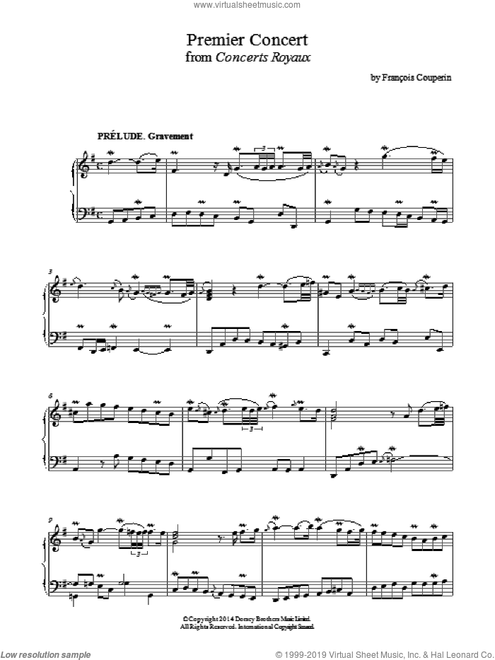 Premier Concert (Concerts Royaux) sheet music for piano solo by Francois Couperin, classical score, intermediate skill level