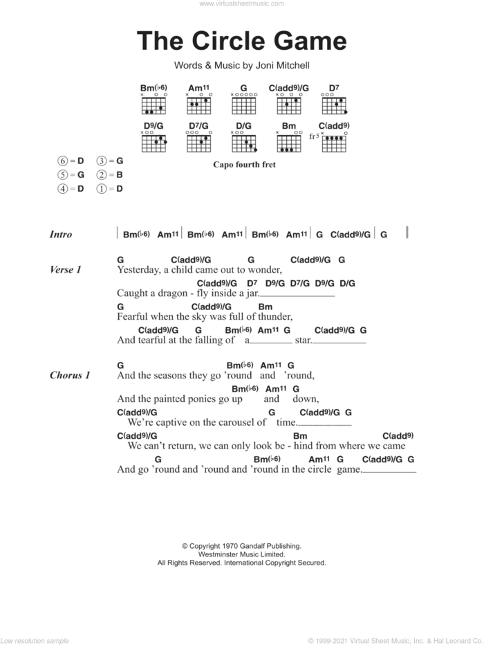 The Circle Game sheet music for guitar (chords) by Joni Mitchell, intermediate skill level