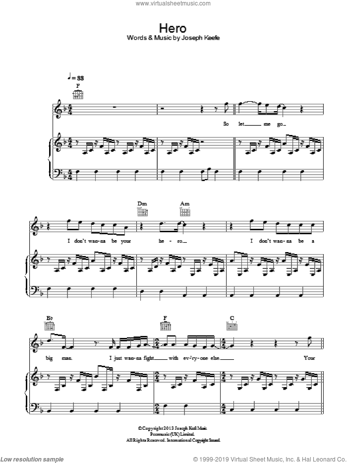 Hero sheet music for voice, piano or guitar by Family Of The Year and Joseph Keefe, intermediate skill level