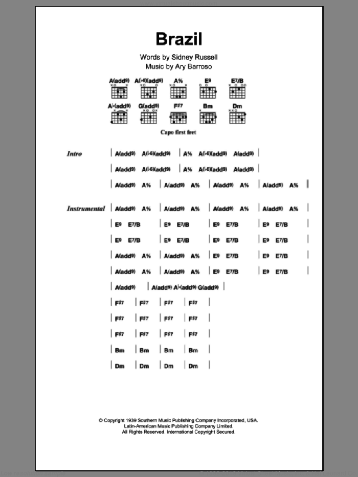 Brazil sheet music for guitar (chords) by Ary Barroso and Sidney Russell, intermediate skill level