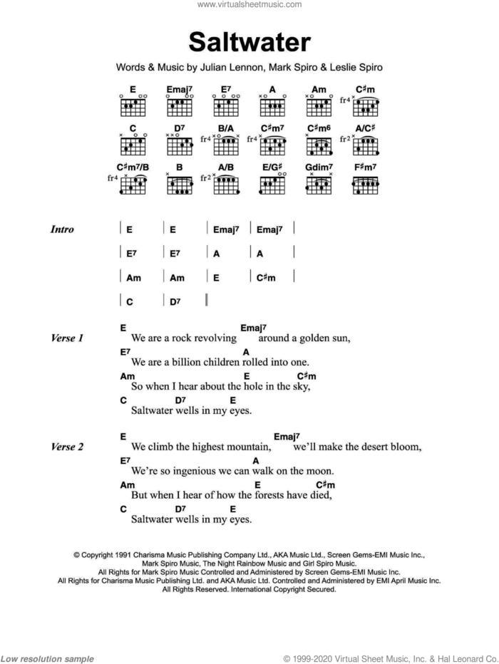 Saltwater sheet music for guitar (chords) by Julian Lennon, Leslie Ann Spiro and Mark Spiro, intermediate skill level