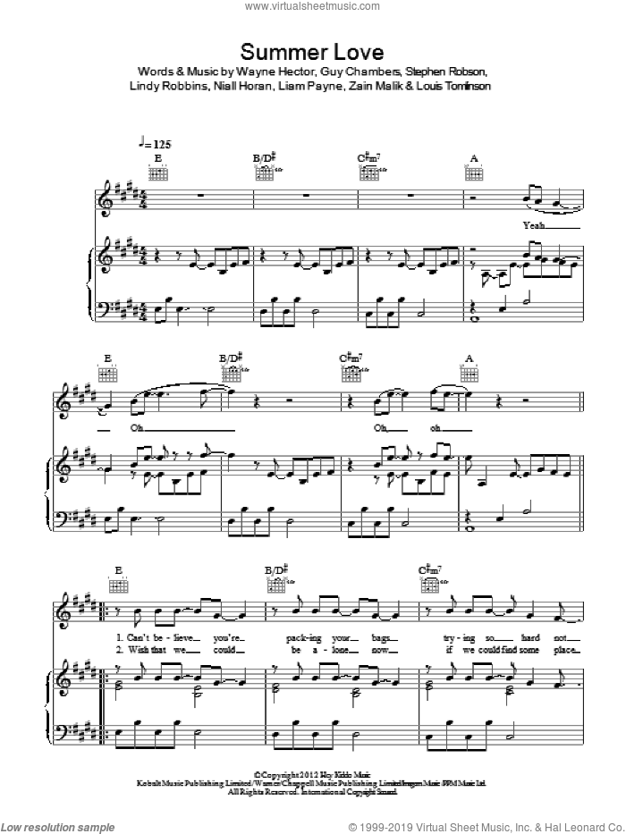 Summer Love sheet music for voice, piano or guitar by One Direction, Guy Chambers, Liam Payne, Lindy Robbins, Louis Tomlinson, Niall Horan, Steve Robson, Wayne Hector and Zain Malik, intermediate skill level