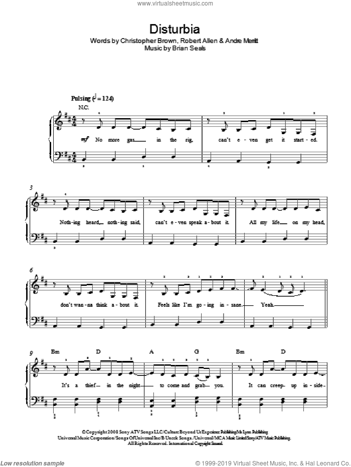 Disturbia sheet music for piano solo by Rihanna, Andre Merritt, Brian Seals, Chris Brown and Robert Allen, easy skill level