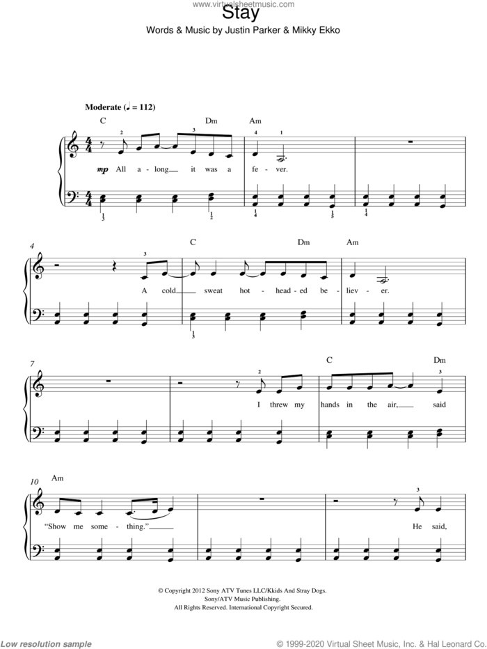 Stay, (easy) sheet music for piano solo by Rihanna, Justin Parker and Mikky Ekko, easy skill level