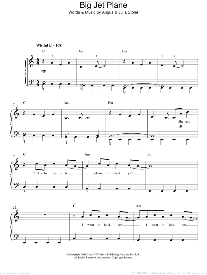 Big Jet Plane sheet music for piano solo by Julia Stone and Angus Stone, easy skill level
