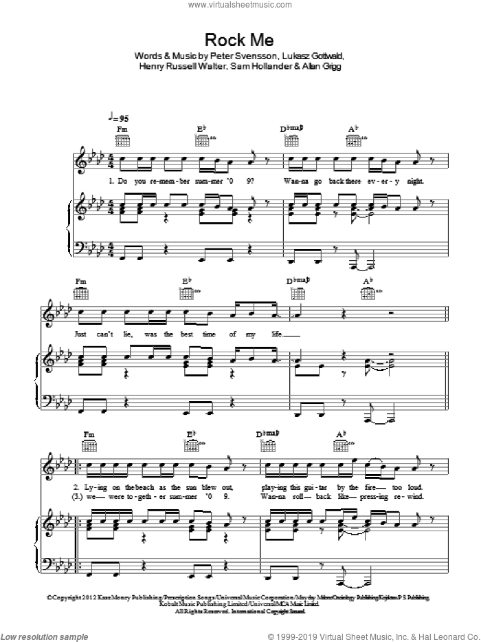 Rock Me sheet music for voice, piano or guitar by One Direction, Allan Grigg, Henry Russell Walter, Lukasz Gottwald, Peter Svensson and Sam Hollander, intermediate skill level