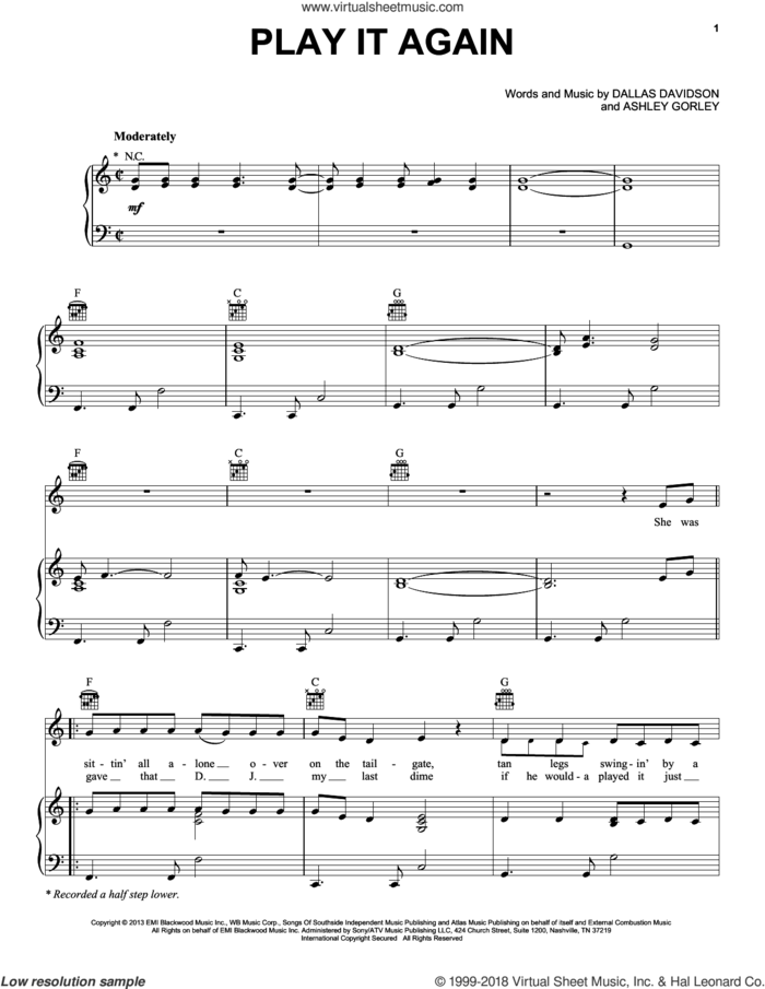 Play It Again sheet music for voice, piano or guitar by Luke Bryan, Ashley Gorley and Dallas Davidson, intermediate skill level