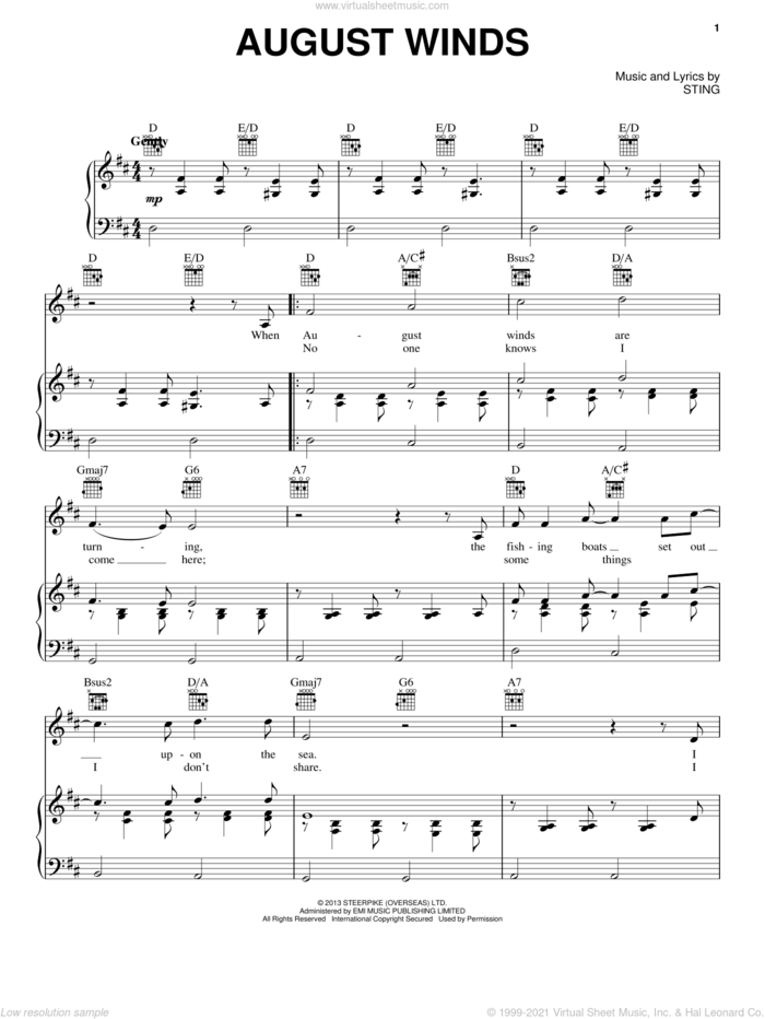 August Winds sheet music for voice, piano or guitar by Sting, intermediate skill level