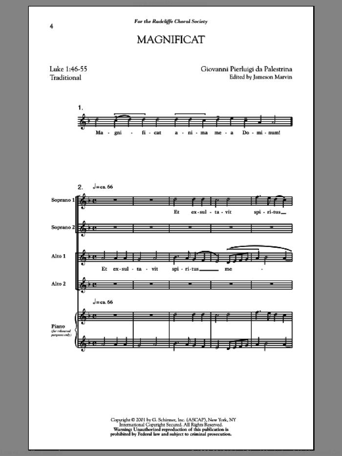 Magnificat sheet music for choir (SSA: soprano, alto) by Jameson Marvin and Giovanni de Palestrina, intermediate skill level