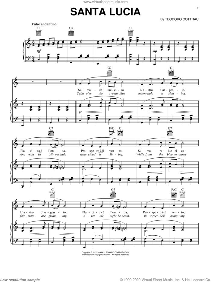 Santa Lucia sheet music for voice, piano or guitar by Teodoro Cottrau, intermediate skill level