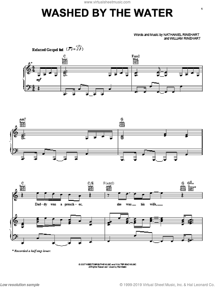 Washed By The Water sheet music for voice, piano or guitar by NEEDTOBREATHE, Nathaniel Rinehart and William Rinehart, intermediate skill level