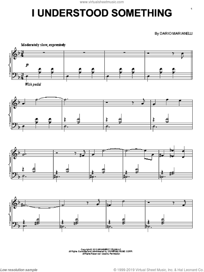 I Understood Something sheet music for piano solo by Dario Marianelli, classical score, intermediate skill level