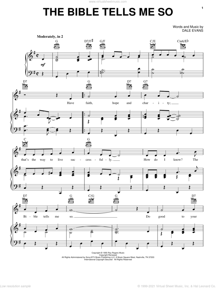 The Bible Tells Me So sheet music for voice, piano or guitar by Dale Evans, intermediate skill level
