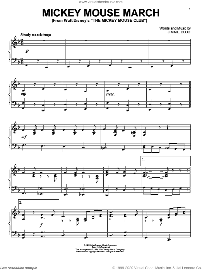 Mickey Mouse March, (intermediate) sheet music for piano solo by Jimmie Dodd, intermediate skill level