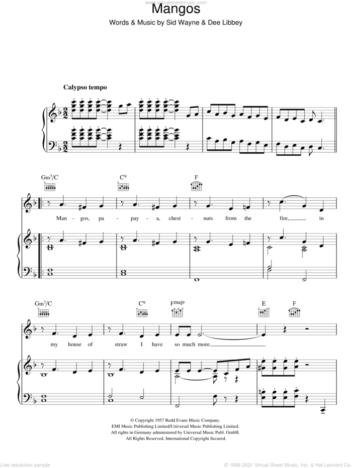 Mangos sheet music for voice, piano or guitar by Rosemary Clooney, Dee Libbey and Sid Wayne, intermediate skill level