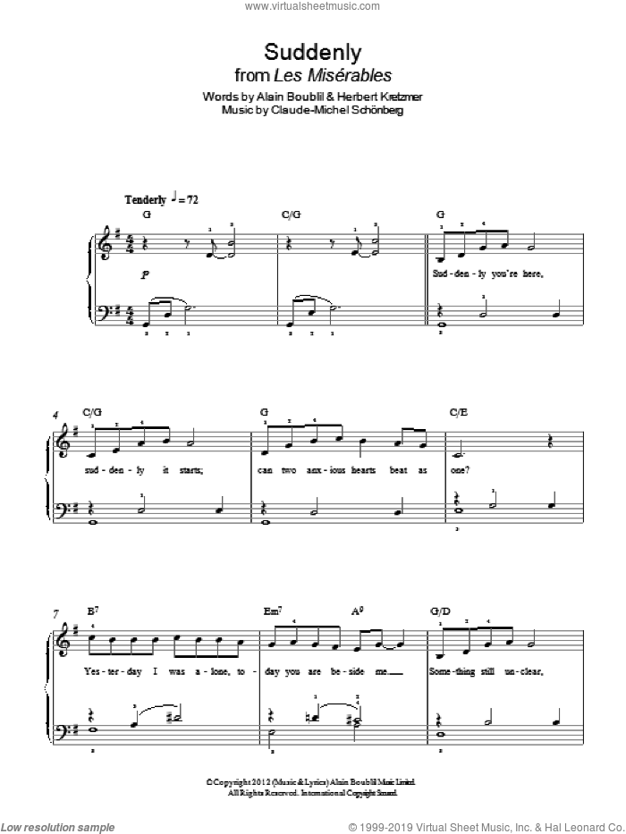 Suddenly sheet music for piano solo by Boublil and Schonberg, Alain Boublil, Claude-Michel Schonberg, Claude-Michel Schonberg and Herbert Kretzmer, easy skill level