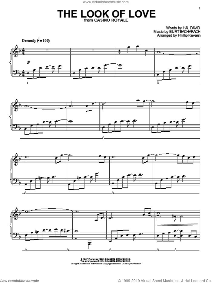 The Look Of Love sheet music for piano solo by Phillip Keveren, Burt Bacharach and Hal David, intermediate skill level
