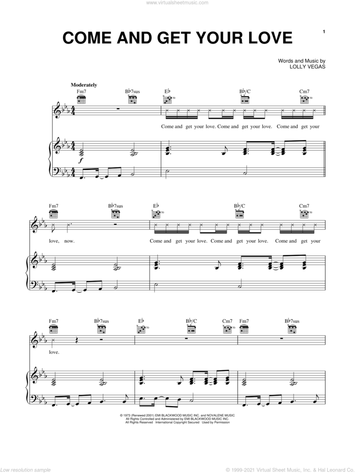 Come And Get Your Love sheet music for voice, piano or guitar by Real McCoy, Redbone and Lolly Vegas, intermediate skill level