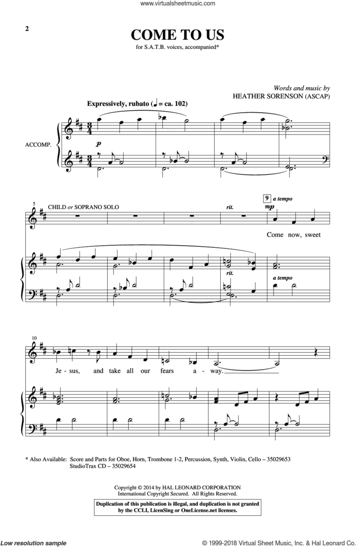 Come To Us sheet music for choir by Heather Sorenson, intermediate skill level
