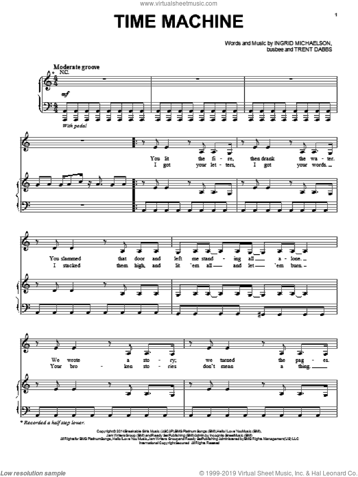 Time Machine sheet music for voice, piano or guitar by Ingrid Michaelson, busbee and Trent Dabbs, intermediate skill level