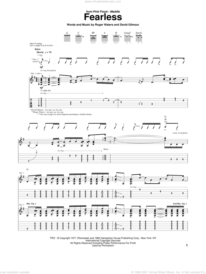 Fearless sheet music for guitar (tablature) by Pink Floyd, David Gilmour and Roger Waters, intermediate skill level