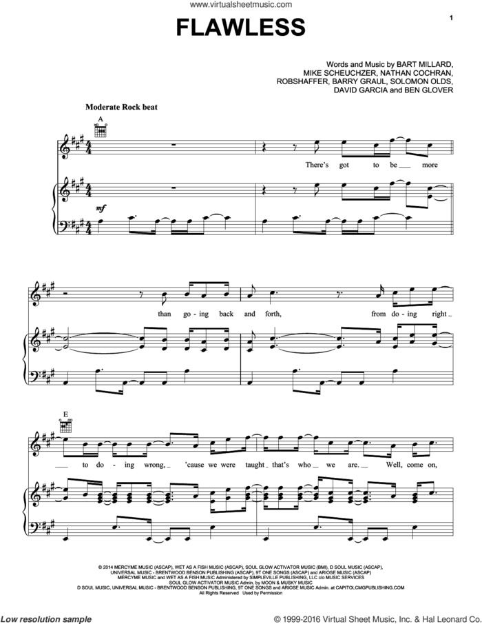 Flawless sheet music for voice, piano or guitar by MercyMe, Barry Graul, Bart Millard, Ben Glover, David Garcia, Mike Scheuchzer, Nathan Cochran, Robshaffer and Solomon Olds, intermediate skill level