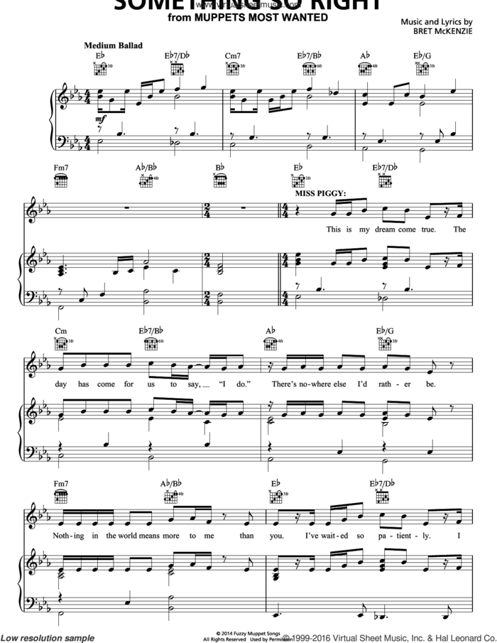 Something So Right sheet music for voice, piano or guitar by Bret McKenzie, intermediate skill level