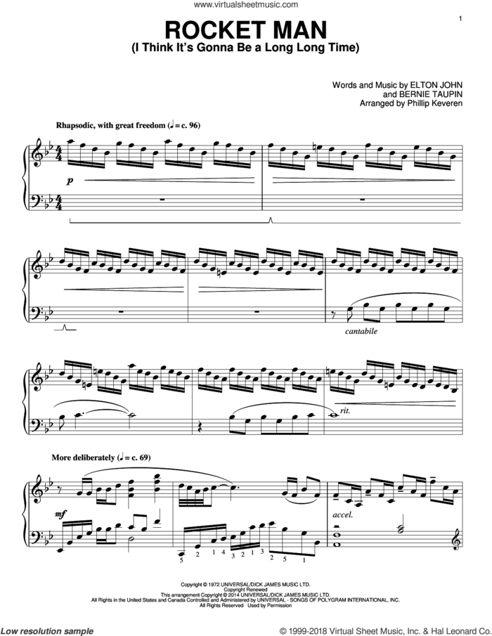 Rocket Man (I Think It's Gonna Be A Long Long Time) [Classical version] (arr. Phillip Keveren) sheet music for piano solo by Phillip Keveren, Bernie Taupin and Elton John, intermediate skill level