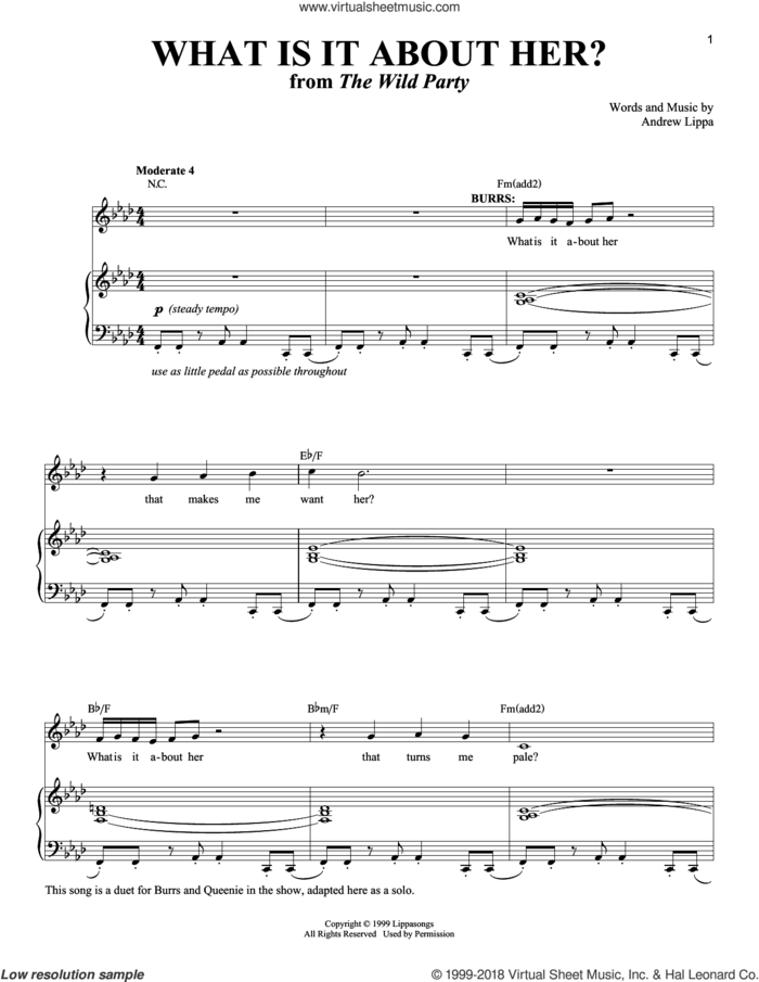 What Is It About Her? sheet music for voice and piano by Andrew Lippa and Richard Walters, intermediate skill level