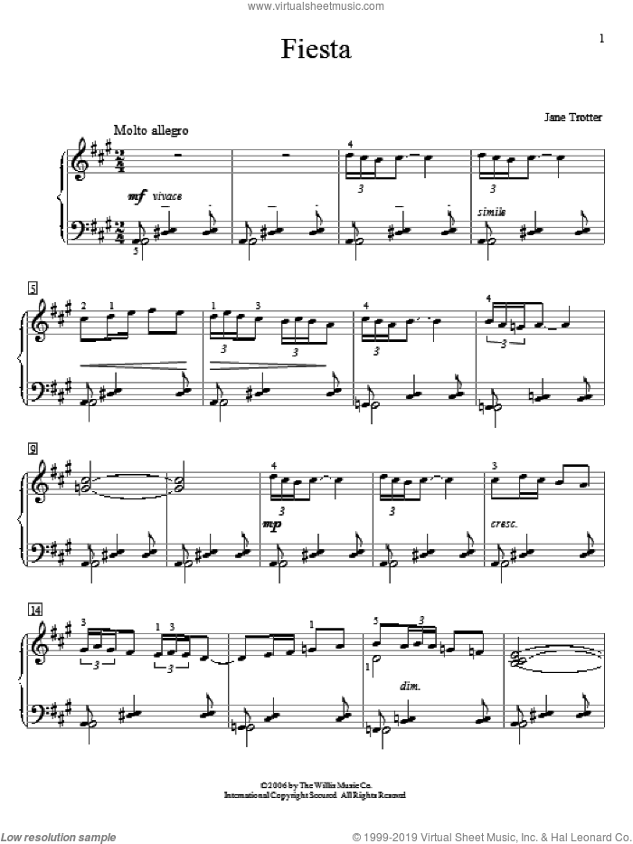 Fiesta sheet music for piano solo (elementary) by Jane Trotter, beginner piano (elementary)