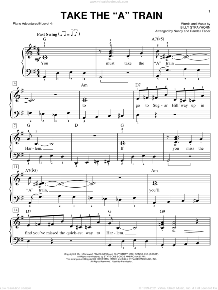 Take The 'A' Train, (intermediate/advanced) sheet music for piano solo by Duke Ellington, Billy Strayhorn and Nancy and Randall Faber, intermediate/advanced skill level