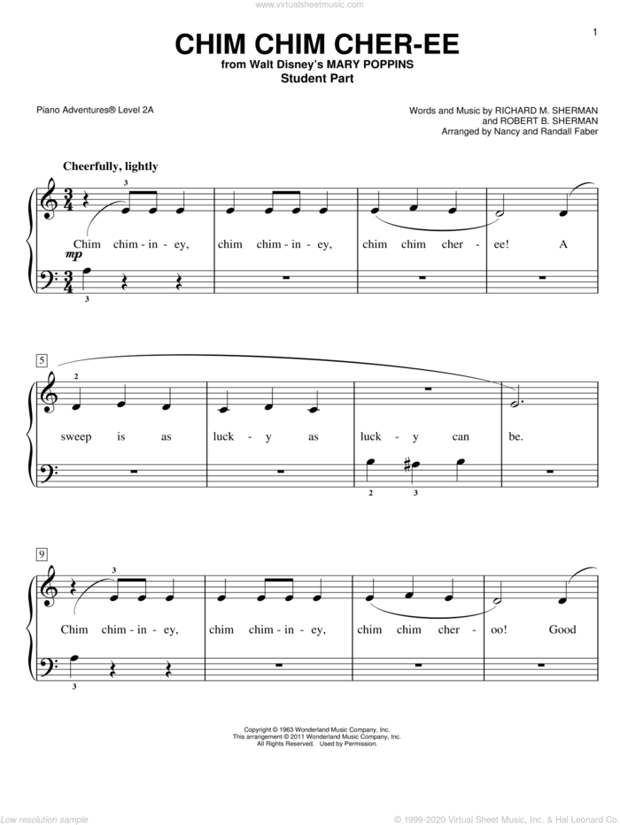 Chim Chim Cher-ee sheet music for piano solo by Richard M. Sherman, Nancy and Randall Faber, Robert B. Sherman and Sherman Brothers, intermediate/advanced skill level