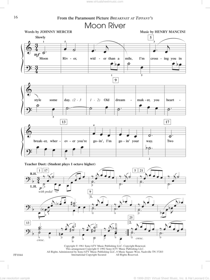 Moon River, (intermediate/advanced) sheet music for piano solo by Johnny Mercer, Henry Mancini and Nancy and Randall Faber, intermediate/advanced skill level
