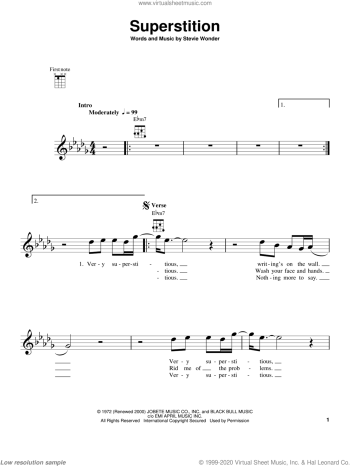 Superstition sheet music for ukulele by Stevie Wonder and Stevie Ray Vaughan, intermediate skill level