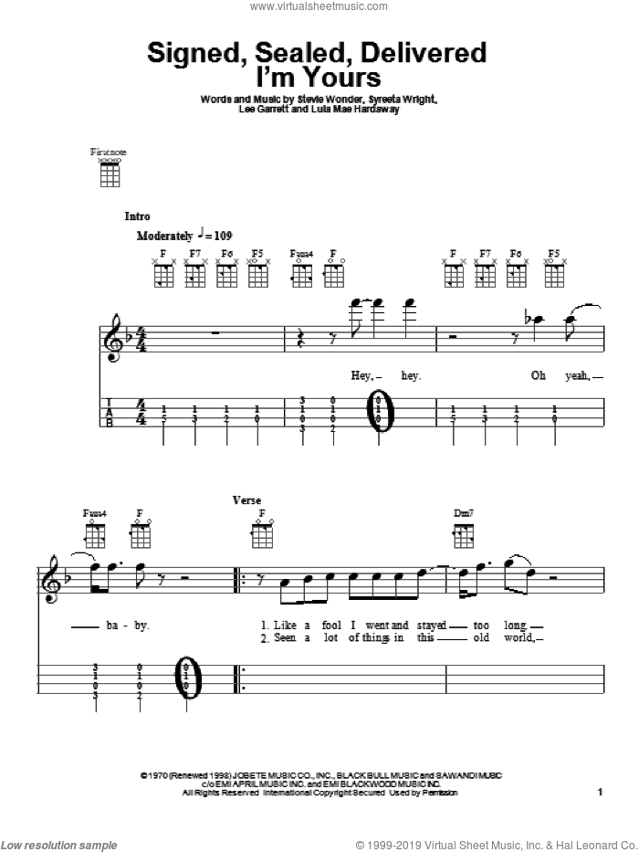 Signed, Sealed, Delivered I'm Yours sheet music for ukulele by Stevie Wonder, Lee Garrett, Lula Mae Hardaway and Syreeta Wright, intermediate skill level