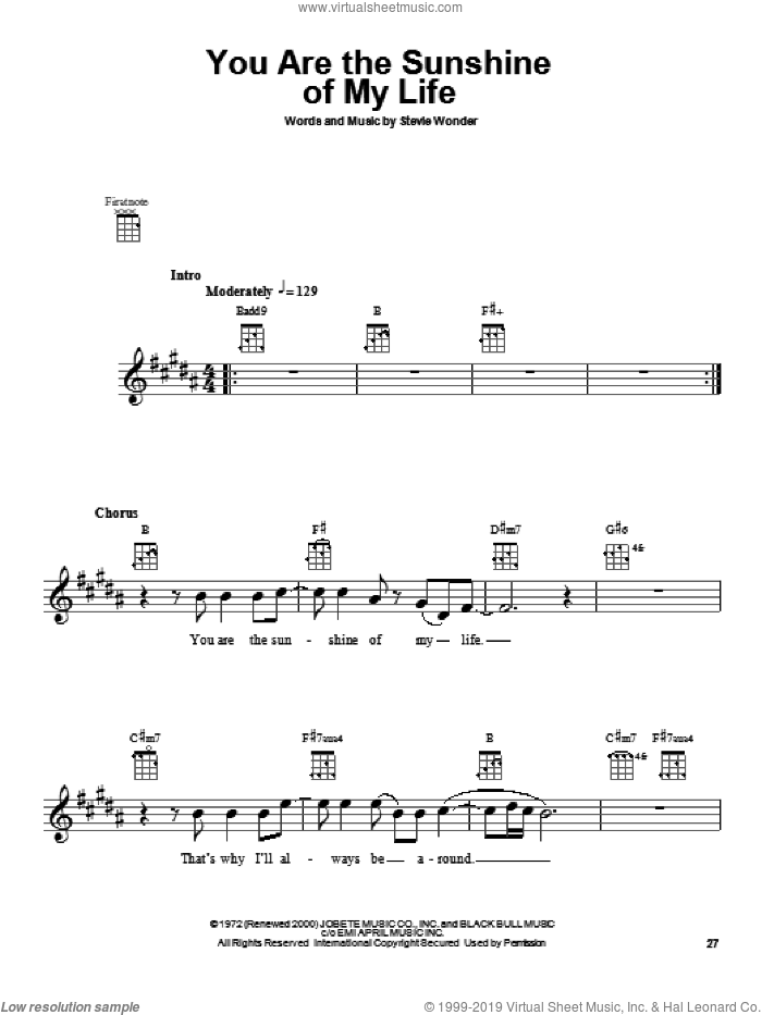 You Are The Sunshine Of My Life sheet music for ukulele by Stevie Wonder, intermediate skill level