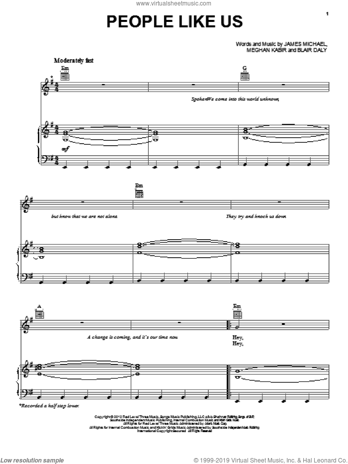 People Like Us sheet music for voice, piano or guitar by Kelly Clarkson, Blair Daly, James Michael and Meghan Kabir, intermediate skill level
