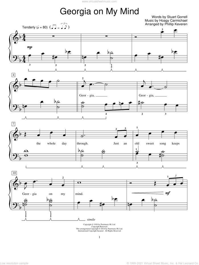 Georgia On My Mind sheet music for piano solo (elementary) by Hoagy Carmichael, Mona Rejino, Phillip Keveren, Ray Charles, Robert Vandall, Willie Nelson, Miscellaneous and Stuart Gorrell, beginner piano (elementary)