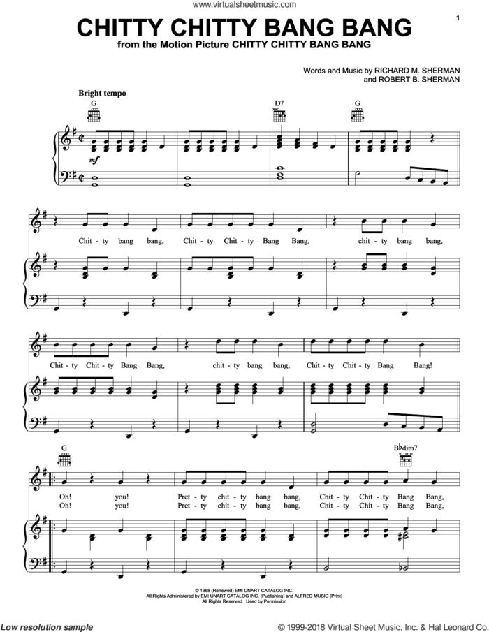 Chitty Chitty Bang Bang sheet music for voice, piano or guitar by Richard M. Sherman, Paul Mauriat and Robert B. Sherman, intermediate skill level