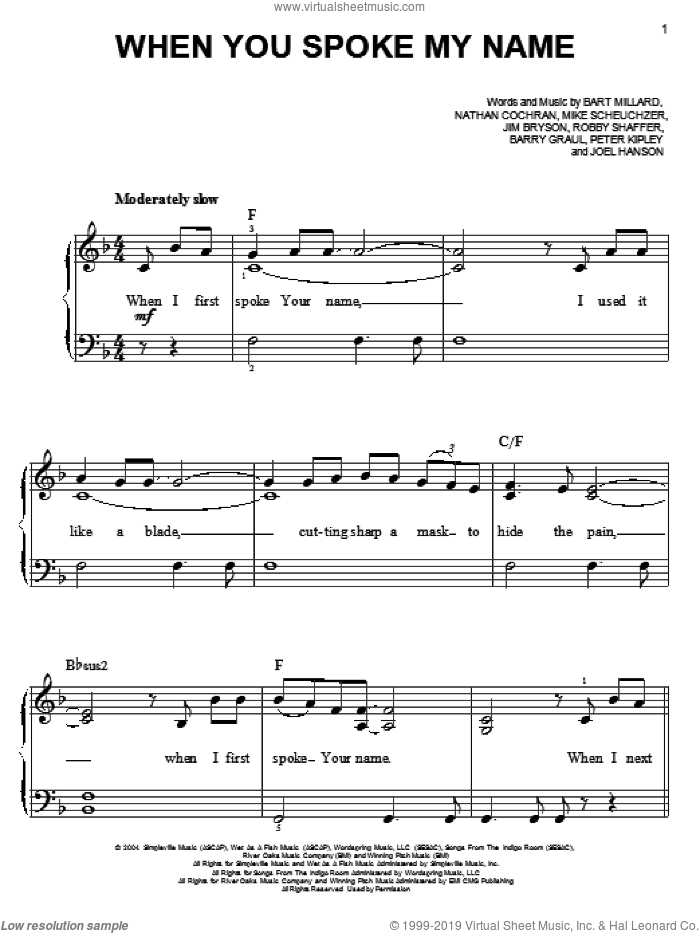 When You Spoke My Name sheet music for piano solo by MercyMe, Barry Graul, Bart Millard, Jim Bryson, Joel Hanson, Mike Scheuchzer, Nathan Cochran, Peter Kipley and Robby Shaffer, easy skill level