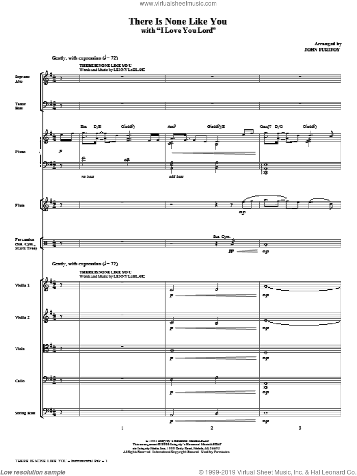 There Is None Like You (with I Love You Lord) (complete set of parts) sheet music for orchestra/band (Special) by John Purifoy, Laurie Klein and Lenny LeBlanc, intermediate skill level