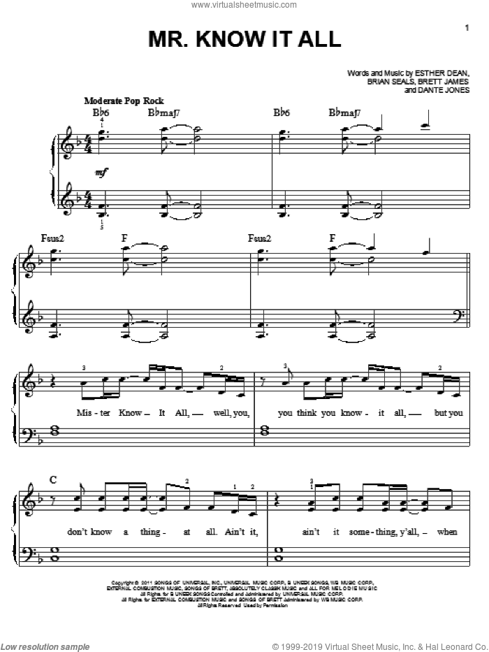 Mr. Know It All sheet music for piano solo by Kelly Clarkson, Brett James, Brian Seals, Dante Jones and Ester Dean, easy skill level