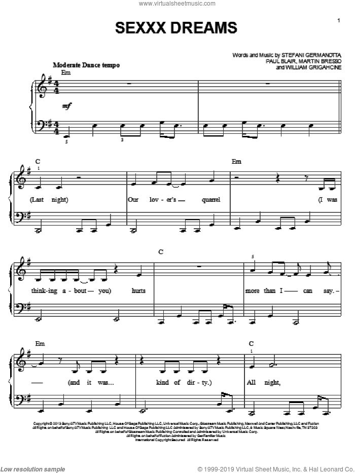 Sexxx Dreams sheet music for piano solo by Lady Gaga, Martin Bresso, Paul Blair and William Grigahcine, easy skill level