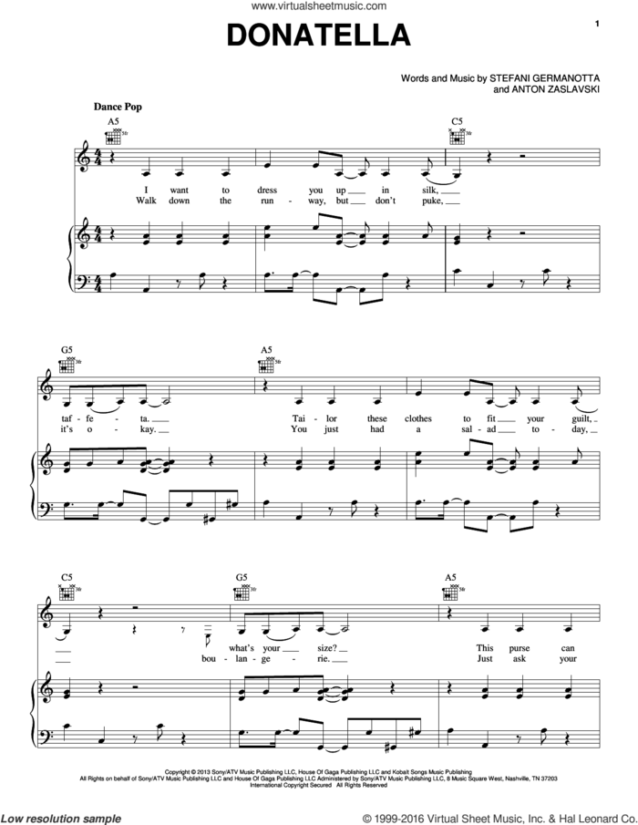 Donatella sheet music for voice, piano or guitar by Lady Gaga and Anton Zaslavski, intermediate skill level